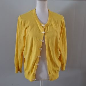 Lilly Pulitzer yellow nautical rope cardigan XL